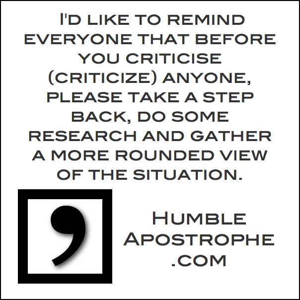 Before you criticise someone's apostrophes