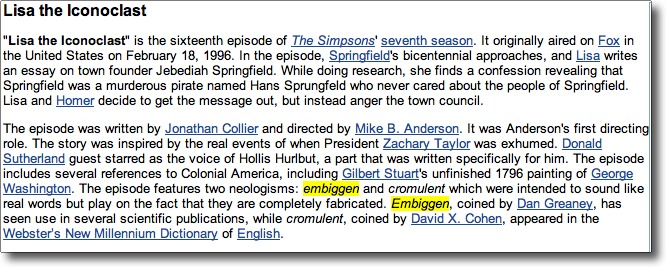 Lisa Simpson first used the word embiggen
