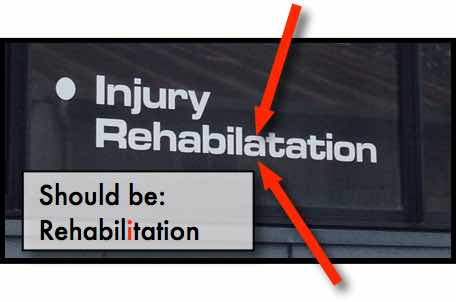 Rehabilitation with a typo spelling mistake